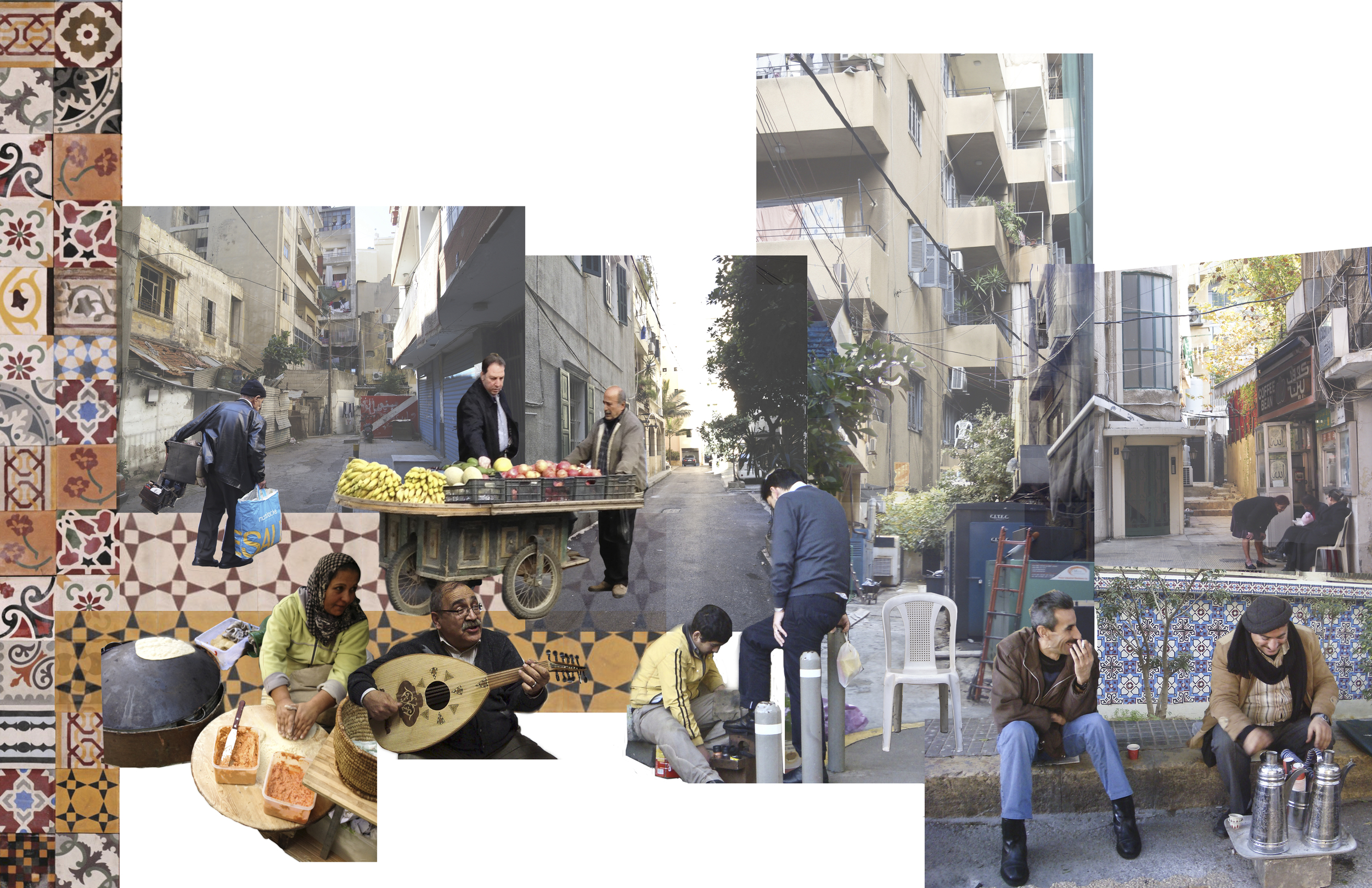 Collage representing the uniqueness of the streets and in-between spaces.   Most important elements of culture are portrayed through the people and  the street-scape extracting the layers of the city (social, political, and strong connection to memory in an area faced with constant conflict).