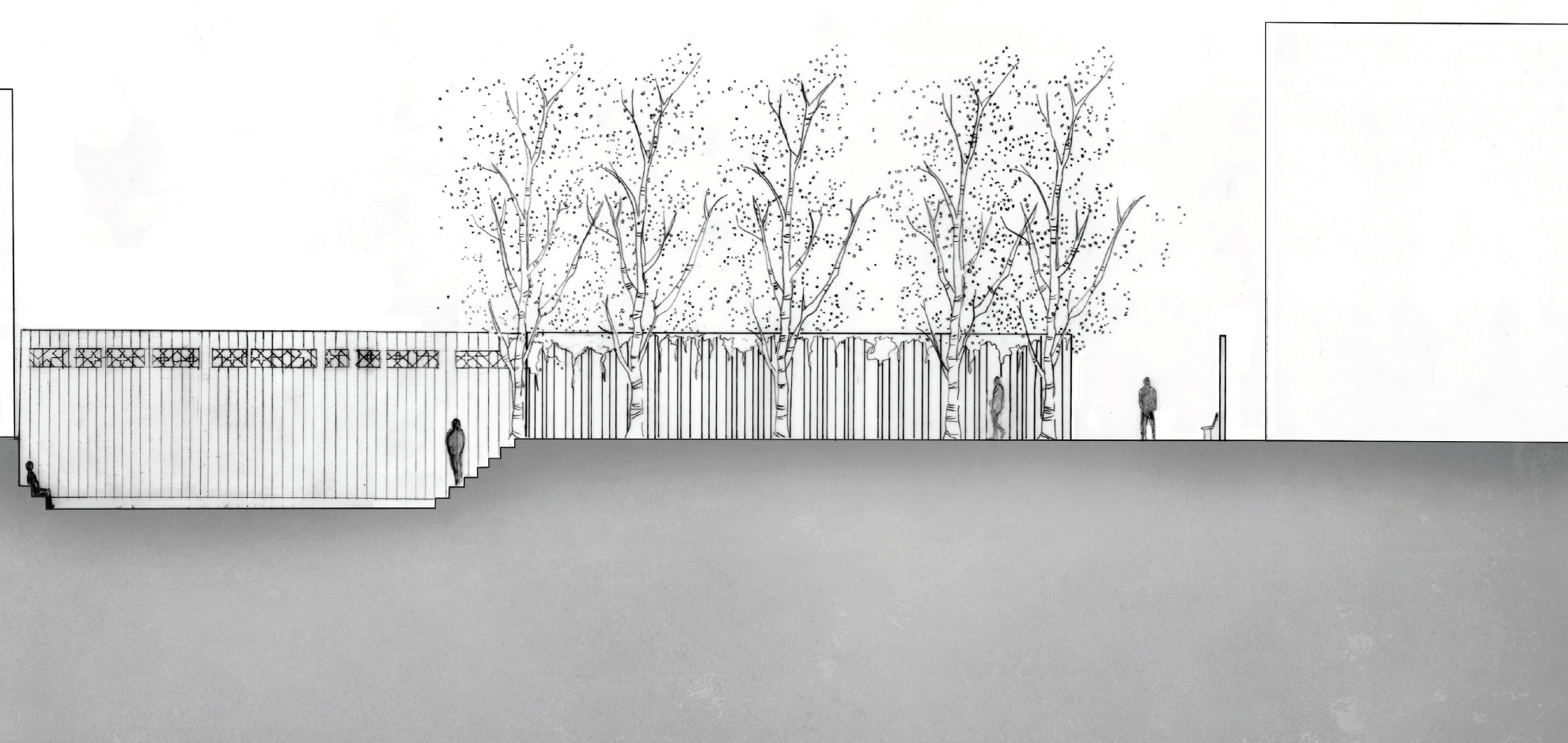 Section - Elevation of one of the in-between designs. Sound absorption occurs with the wood and greenery, leading the dweller into a recessed space. Walking away from the city and the city sounds to a more secluded and intimate space for people to gather. Embracing the in-betweens.