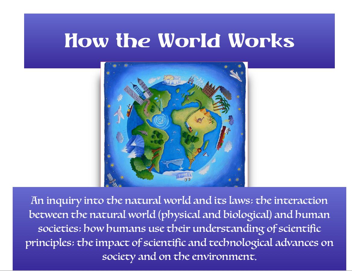 1st Grade Unit 2: How the World Works; October-November 2017