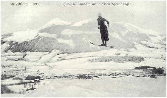 Austrian countess Paula Lamberg jumping in a skirt in 1911.