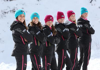 Visa Women's Ski Jumping Team. Photo by Dan Campbell/USSA