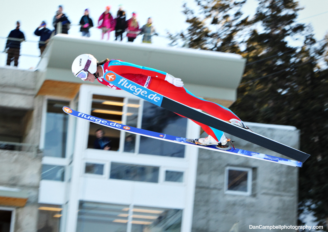 Alissa Johnson in flight at the U.S. Olympic Team Trials.