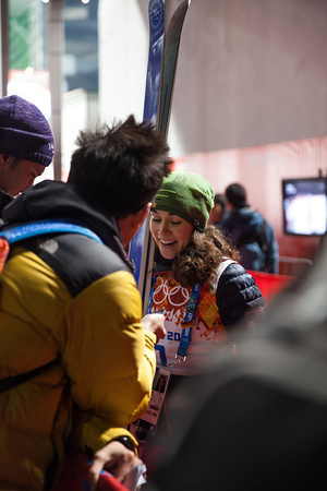 Sarah Hendrickson talking with reporters after the historic event.