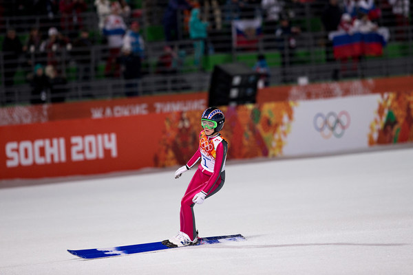 Sarah Hendrickson after jumping the first round in the normal hill event.