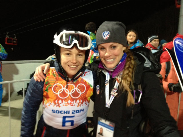 Lindsey Van with friend and ski jumping advocate and judge Blair Tomten.