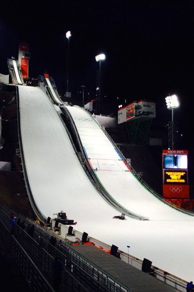 The large and normal hills at the RusSki Gorki Ski Jumping Center at the 2014 Sochi Olympic Games.