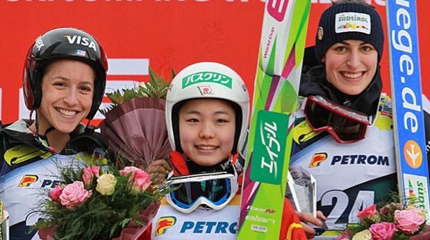 Jessica Jerome, Sara Takanashi and Evelyn Insam. Photo courtesy of FIS.