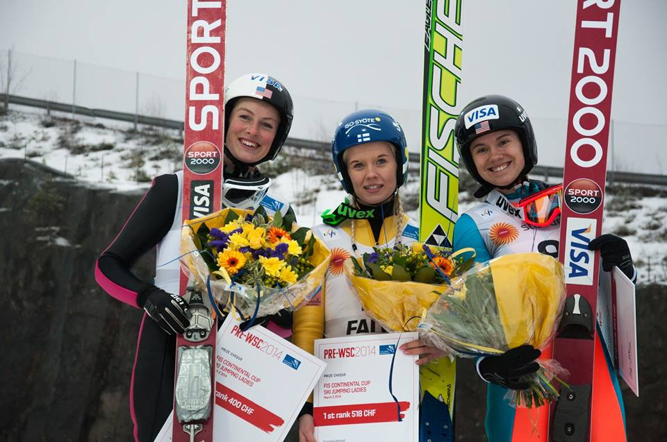 Nina Lussi, Susanna Forsstroem and Nita Englund atop the podium on Sunday, March 2. Photo courtesy of Falun 2015.