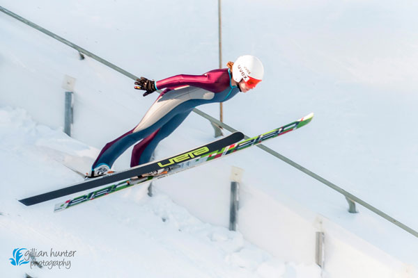 Manon Maurer during a training jump in Park City, Utah. Photo courtesy of Gillian Hunter Photography.