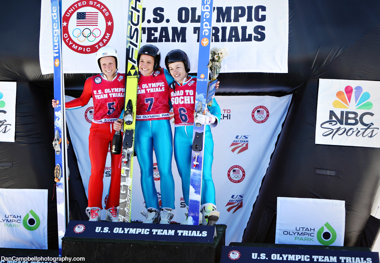 Alissa Johnson, Jessica Jerome and Lindsey Van at the Olympic Team Trials for Ski Jumping on Dec. 29 at Utah Olympic Park.