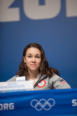 Sarah Hendrickson during a press conference at the Sochi Olympic Winter Games. Photo by Sarah Brunson/USSA