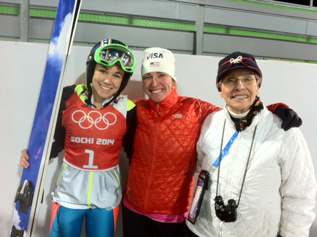 Sarah  Hendrickson with her mom  Nancy  and grandmother Arline Bownes at the Sochi 2014 Olympic Winter Games.