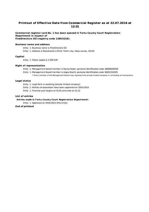 Estonian company registry documents | Company in Estonia | KRM ADVISOR
