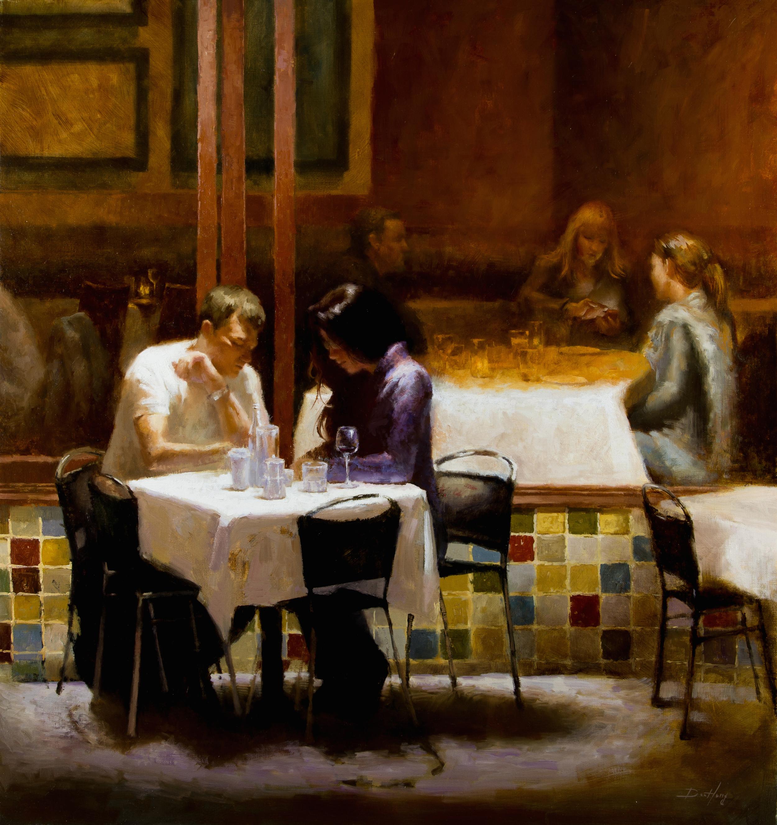 """'Dinning on Columbus street' Oil on linen, 31"""" x 30"""""""