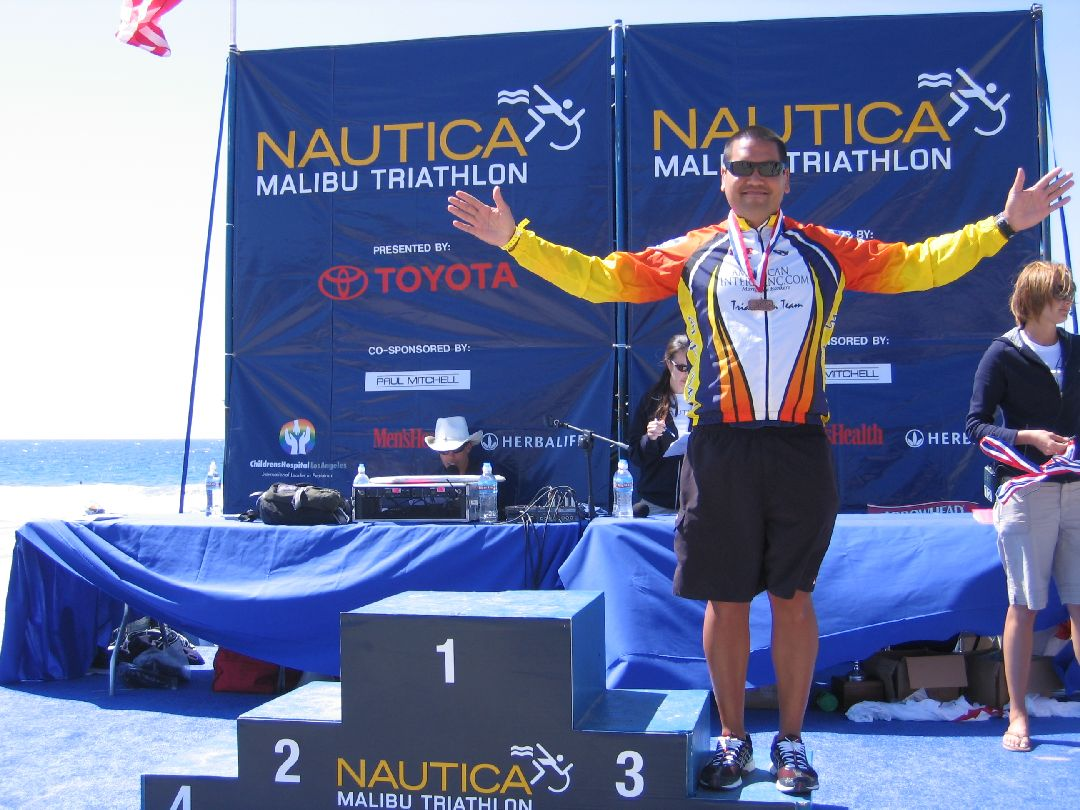 This was taken at my 2nd time racing the Nautica Triathlon in Malibu, I got 5th place.