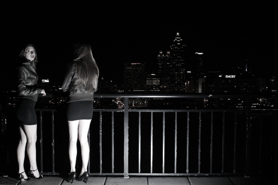 Nikki and Scarlett on the roof - Night.