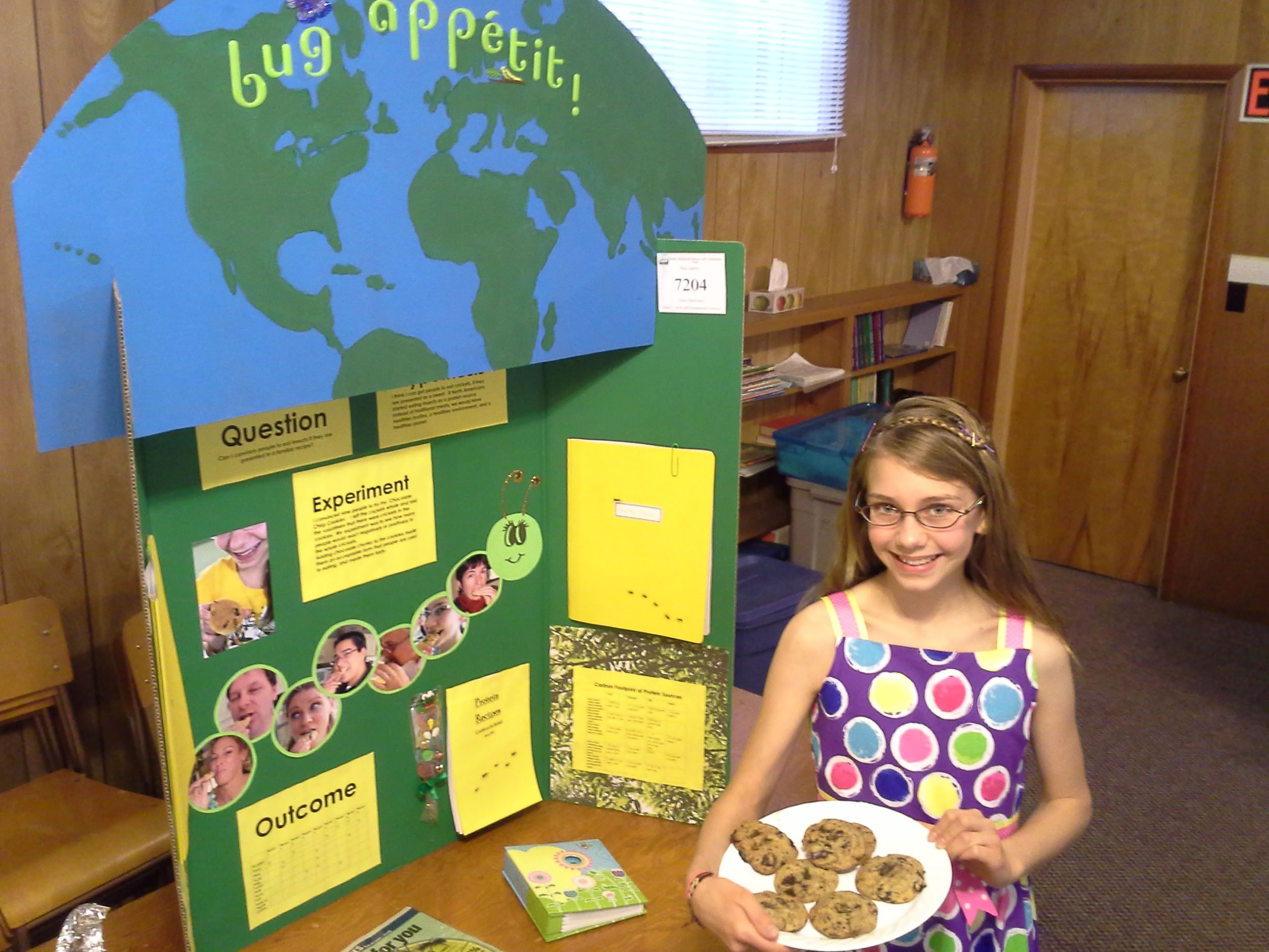 Liberty Macdonald - Bug Appetit. Liberty was a winner at the Quinte Region science fair. How eating bugs can lower our environmental footprint instead of traditional protein production. Council members were each given a delicious cookie baked with crickets as an ingredient, baked by Liberty.
