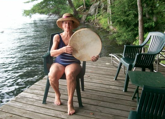 Joyce was 86 when she began to drum. It quickly became part of her prayer life.  During the summers, she drums by the hour on her dock or cottage steps sending God's gentle heart beat out across the lake. From time to time, canoeistsmention to her how they can hear it and appreciate it.