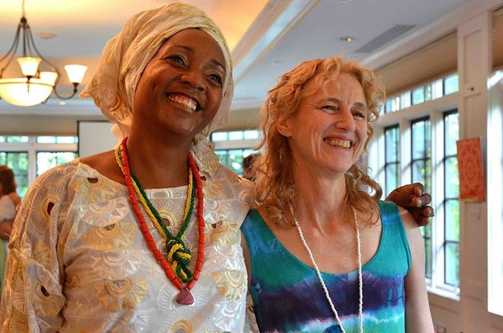 Layne and Yeye Omileye Achikeobi-Lewis,   priestess of Oxun [oshun] a Brazilian religious tradition combining ancient African religious practice with Christianity that was imposed on the slaves by their 'owners.'