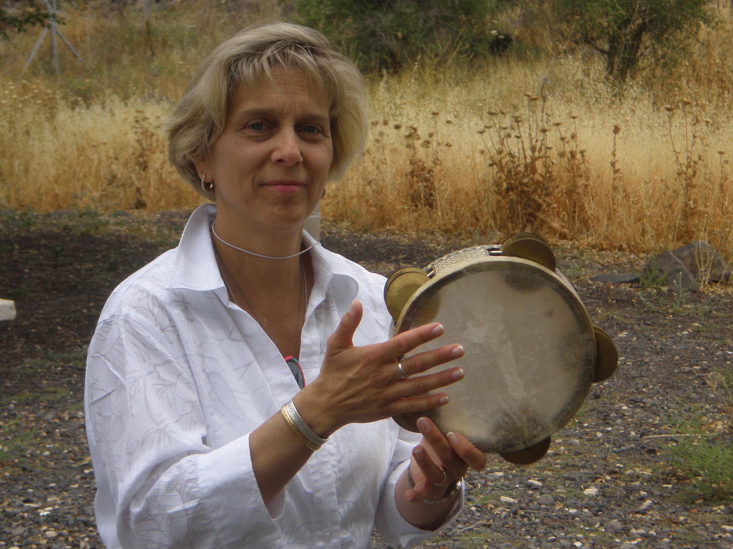 Deborah drumming in Israel