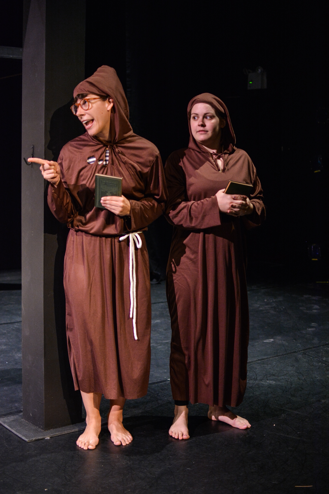 Kristina as Brother Vulgo with Amalia Oswald as Brother Ugh in   Marvellous  . Photo by Kelley Van Dilla.