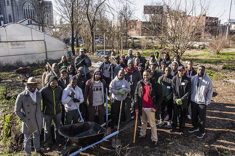 MLK Day   Member of E100 of Atlanta volunteer at a Community Garden in Atlanta on Martin Luther King Jr. Day.