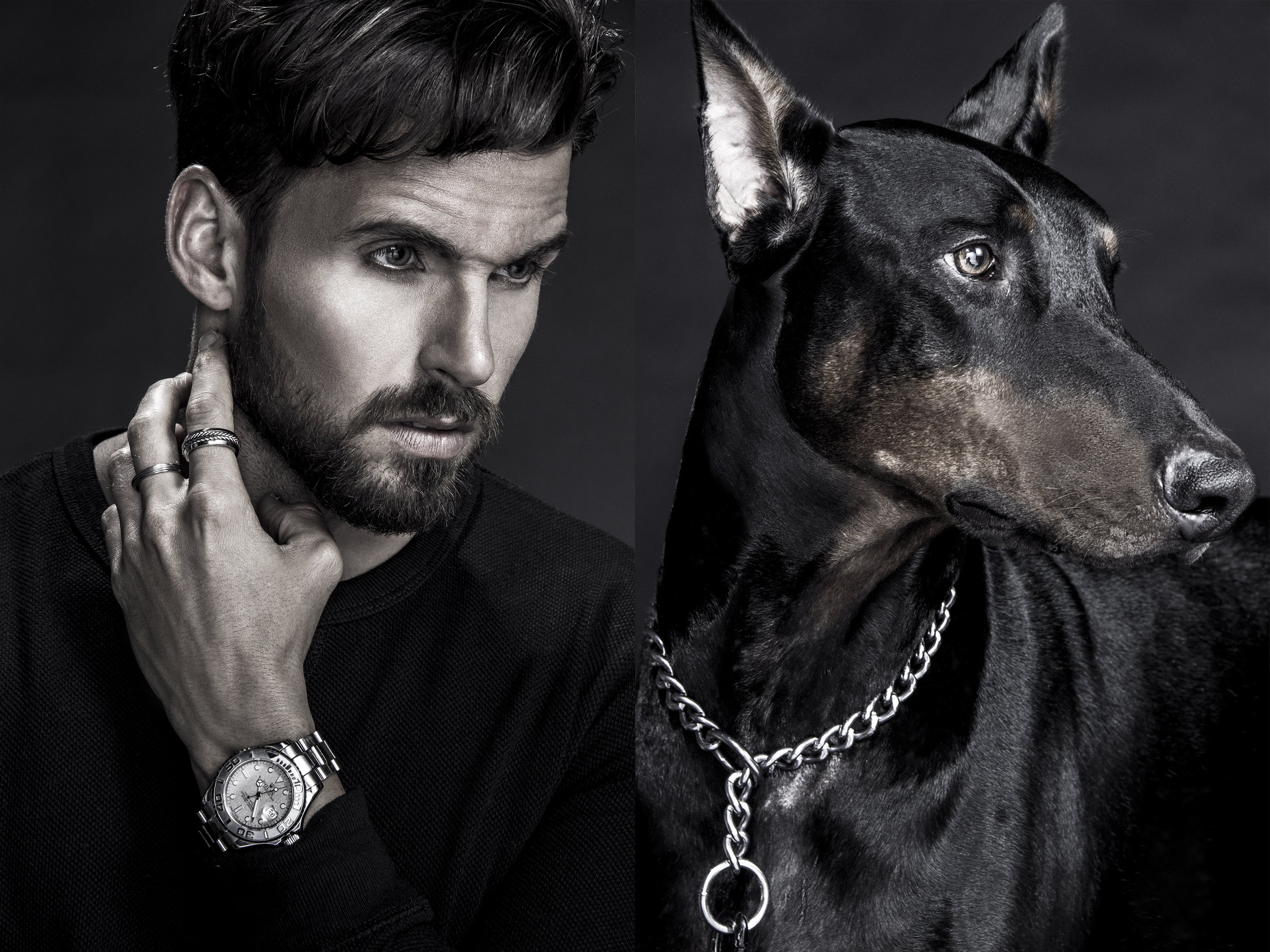 Commercial-advertising-photography-lowkey-portrait-watch-diptych-edgy-fashion-man-dog-doberman-connected_04.jpg