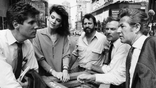 Steve Dunlop in Times Square as a FOX network newsman on assignment with colleagues. From left: Dunlop, Krista Bradford, Rafael Abramowitz, Jim Paymar, and Steve Dunleavy.  Photo courtesy Fox Television.