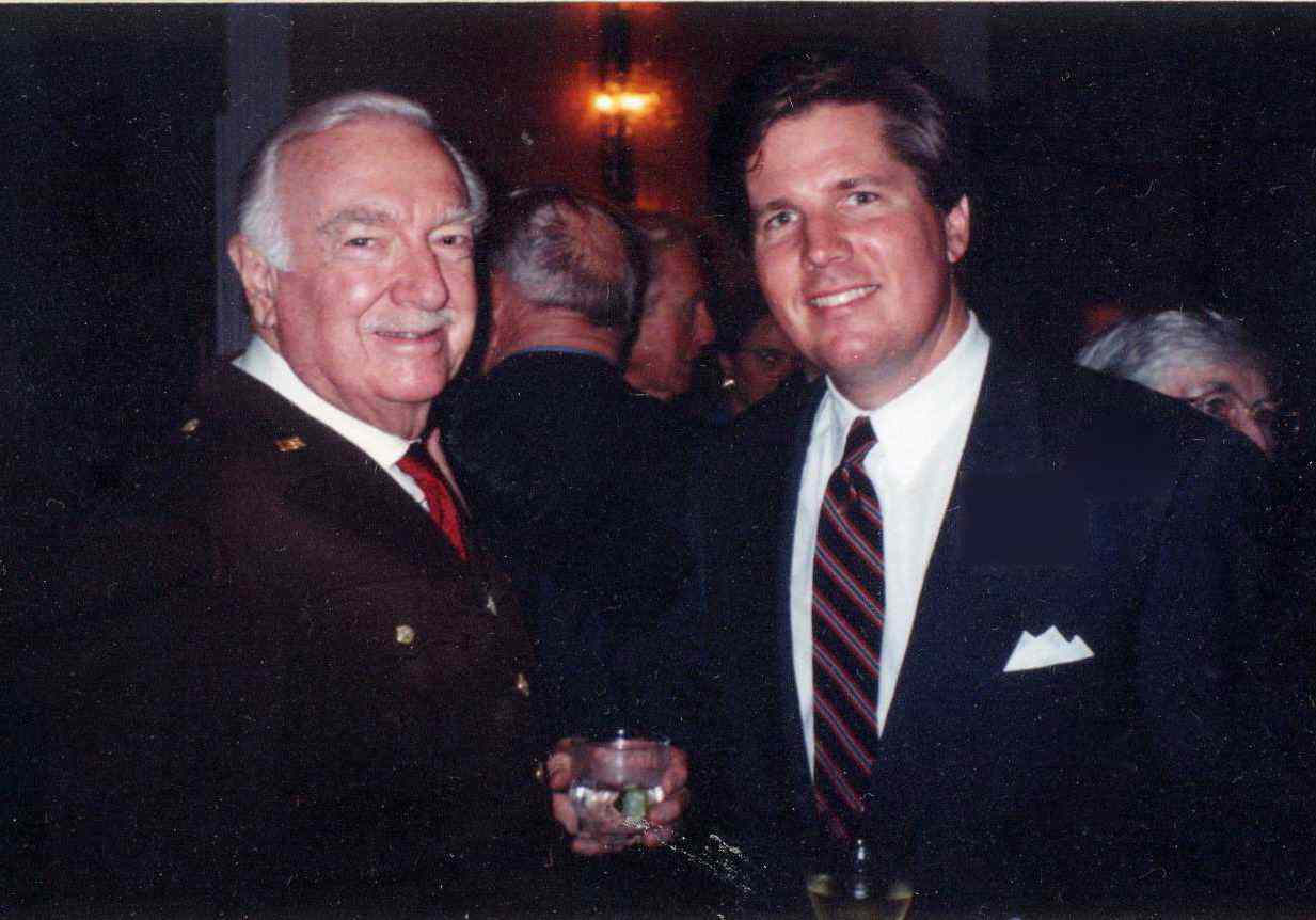 With Walter Cronkite at D-Day commemoration, 1994.
