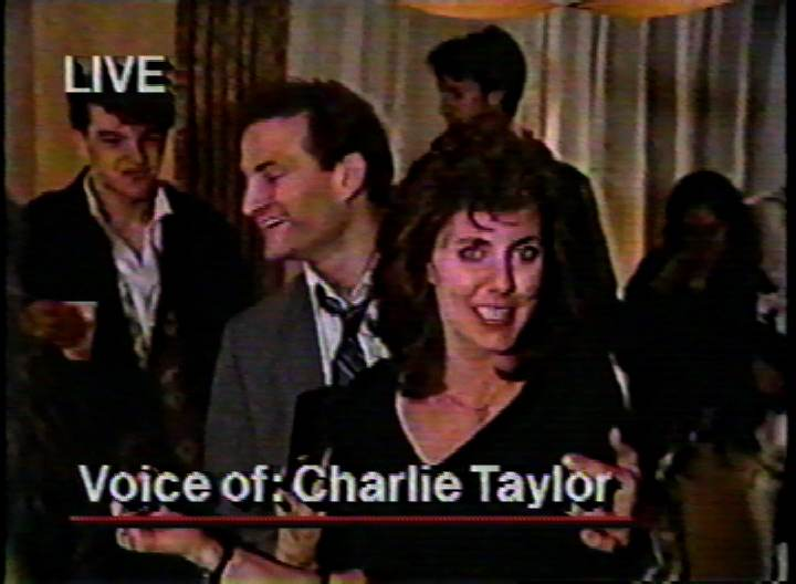 """Charlie Taylor"" at the famous lottery hoax party, 1990.  Image from WNYW/New York."