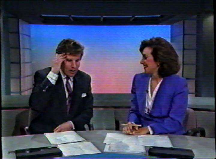 "Steve Dunlop (left) and co-anchor Rosanna Scotto interviewing ""Charlie Taylor"" via phone, perhaps not quite making sense of her claim.  Image from WNYW/New York."