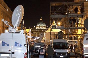 Satellite trucks and television riser seen near The Vatican. Courtesy  The Catholic Telegraph .