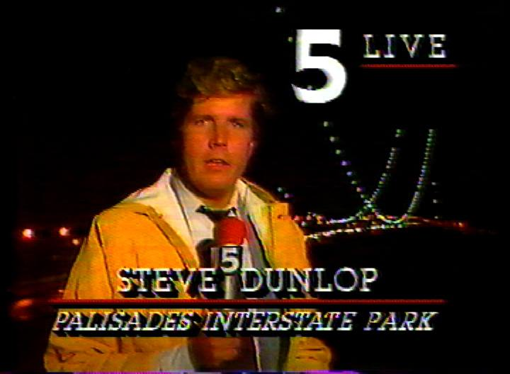 It's been worse: reporting in the rain from a cliff near the George Washington Bridge after two slip and fall fatalities, 1986.