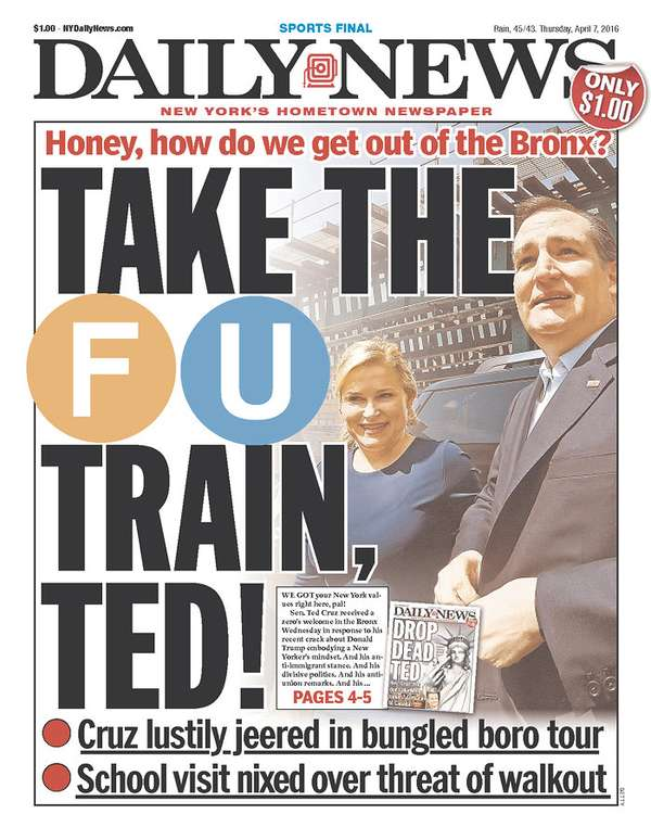 New York Daily News front page, April 7, 2016.