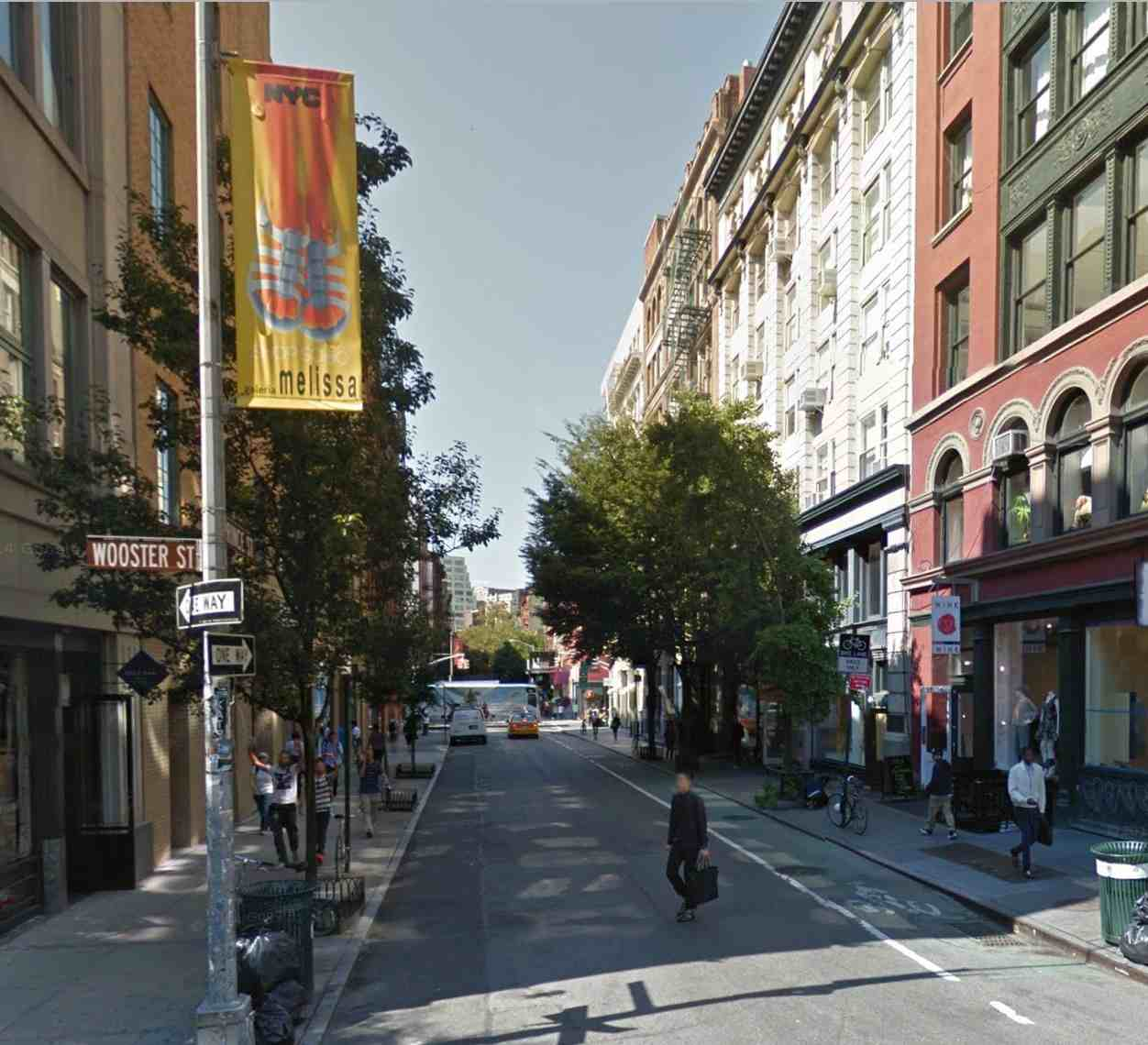 Prince Street at the corner of Wooster Street in SoHo, as it appears today.  Image from Google Maps.