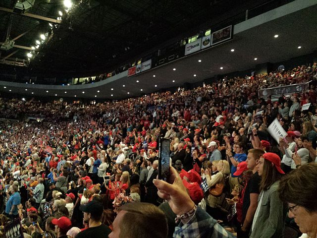 A Trump rally in Cincinnati, October 2016.  Photo by By Bill Huber from Goshen, Ohio, via  Wikimedia Commons .