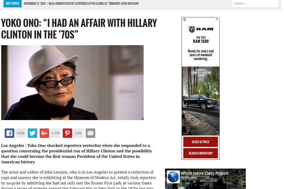 Fake news (the item about Yoko Ono and Hillary Clinton is a complete fabrication) appearing alongside an ad from a major automobile manufacturer.   Illustration from  The Wall Street Journal .
