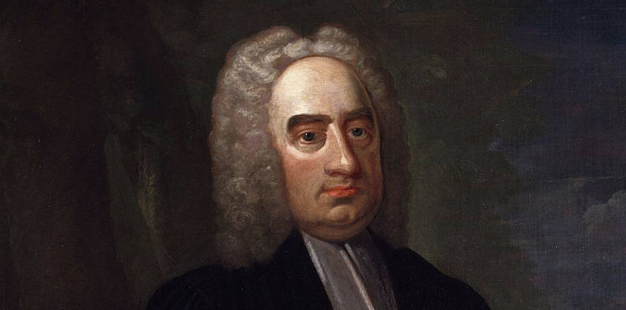 Satirist Jonathan Swift (1667-1745), from a portrait in the National Gallery, London, by Francis Bindon (died 1770) [Public domain], via Wikimedia Commons.
