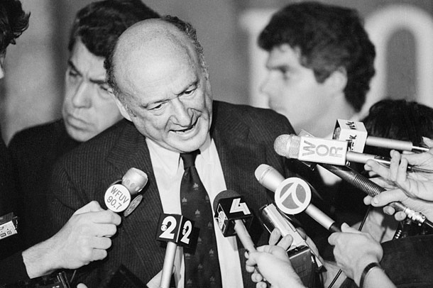 Former New York mayor Ed Koch handling the media, as only he could, in the 1980's. From an article in  New York Magazine .