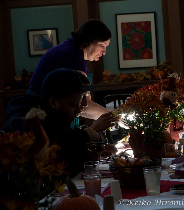 A volunteer during Thanksgiving dinner at Pine Street Inn.