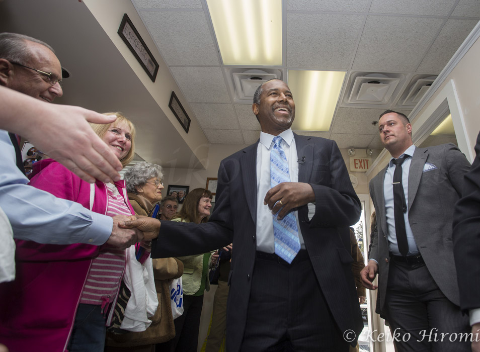 April 6, 2015 - Hollis, New Hampshire, United States: Dr. Ben Carson campaigns at Hollis Pharmacy. Carson is a columnist and retired neurosurgeon redited with being the first surgeon to successfully separate conjoined twins joined at the head. In 2008, he was awarded the Presidential Medal of Freedom by President George W. Bush. After delivering a widely publicized speech at the 2013 National Prayer Breakfast, he became a popular figure in conservative media for his views on social issues and the federal government. He is a presumed Republican presidential candidate in 2016.