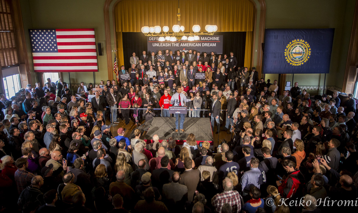 April 8, 2015 - Milford, New Hampshire, United States: Republican Presidential candidate, Senator Rand Paul (R-KY) talks at the historic town hall in the 'Live Free or Die' state. Paul announced his candidacy on April 7 in Kentucky. In recent New Hampshire primary polls, Paul has placed third among likely Republican voters behind former governor Jeb Bush of Florida and Governor Scott Walker of Wisconsin. But on the ground, Paul inherits some of the grassroots network from his father's past two presidential campaigns, giving him a head start over his rivals.