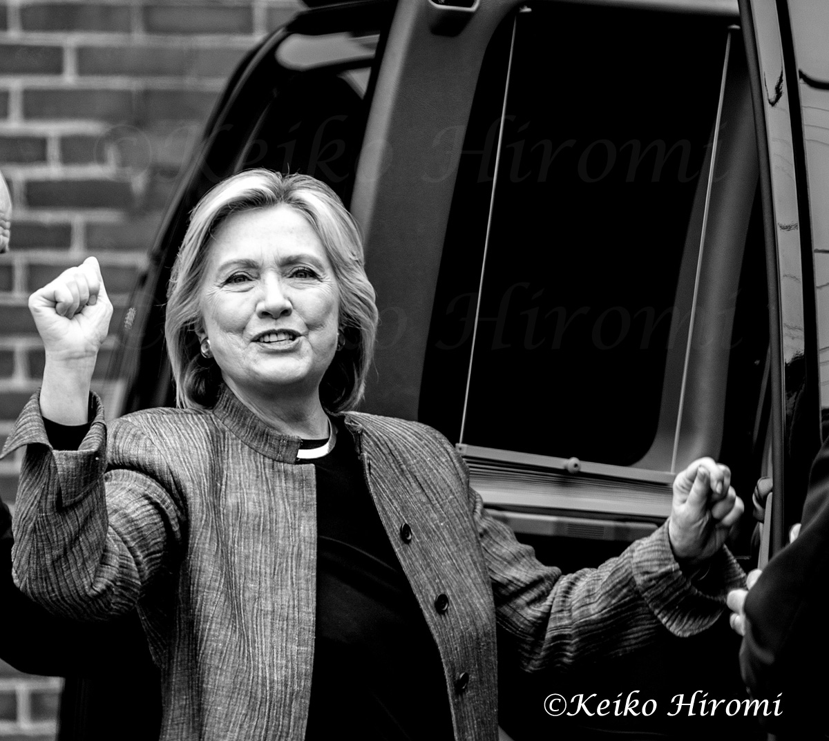 Hillary Clinton, Democratic Presidential candidate, leaving New Hampshire Technical Institute,  Concord's Community College in Concord, NH onApril 21, 2015.