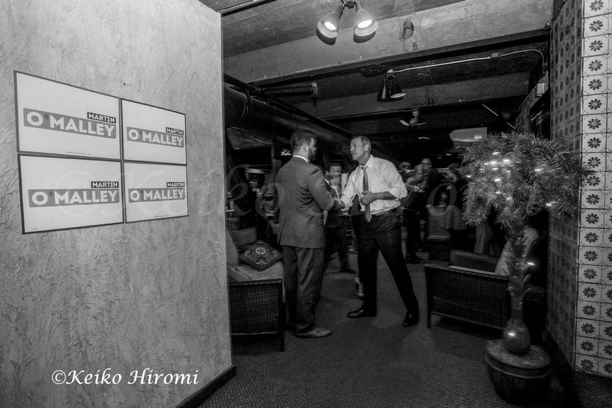Former Maryland Governor Martin O'Malley campaigning at New Hampshire Young Democrats social hour at the Margaritas basement lounge in Nashua, NH on March 31, 2015: