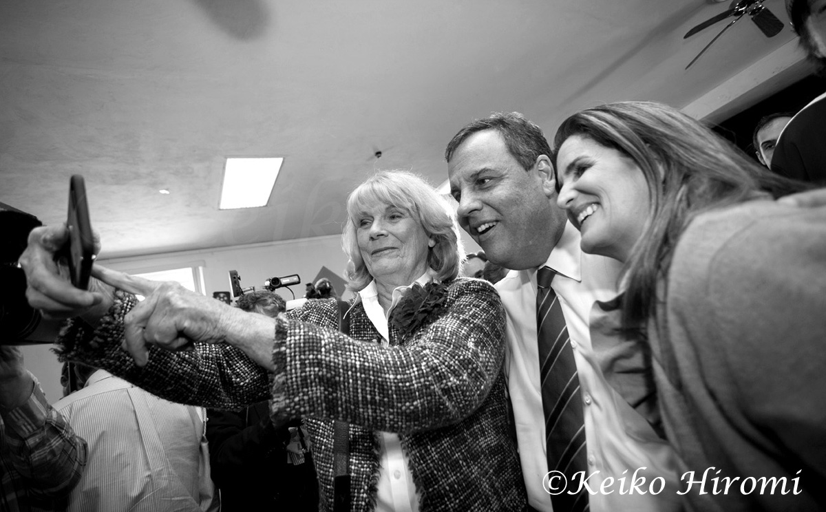 "New Jersey Gov. Chris Christie campaigns with his wife Mary Pat, (Right) at ""Tell It Like It Is"" Town Hall at Londonderry Lions Club in Londonderry, NH on April 15, 2015"