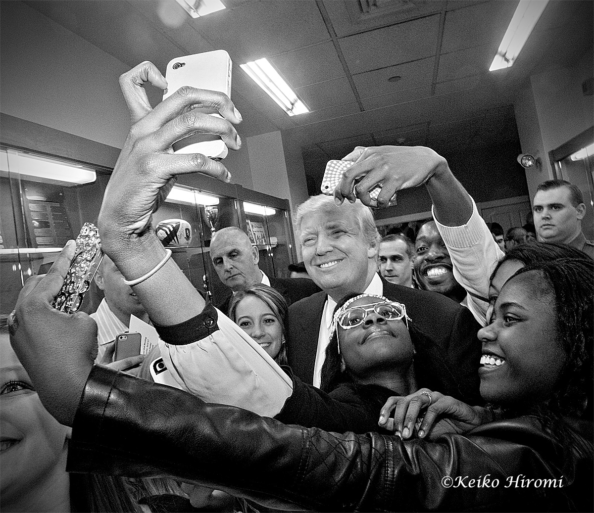 April 27, 2015: New England College, Henniker, NH: Presidential Hopeful and American business man Donald Trump taking a selfie with students at New England College, Henniker, NH.