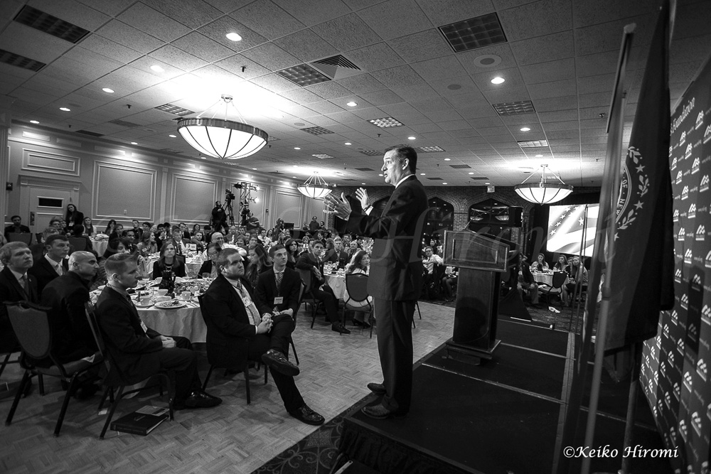 March 15, 2015: Merrimack, NH USA: Sen. Ted Cruz, R-Texas, a tea party favorite and presidential candidate in 2016, at Young America's Foundation New England Freedom Conference Dinner in Nashua, NH.