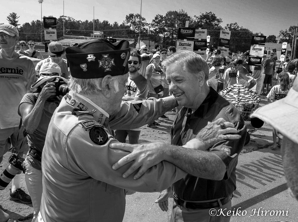 September 7, 2015, Milford, NH, USA: Republican Presidential candidate Lindsey Graham (R-SC)  campaigning before Labor Day Parade in Milford, NH.