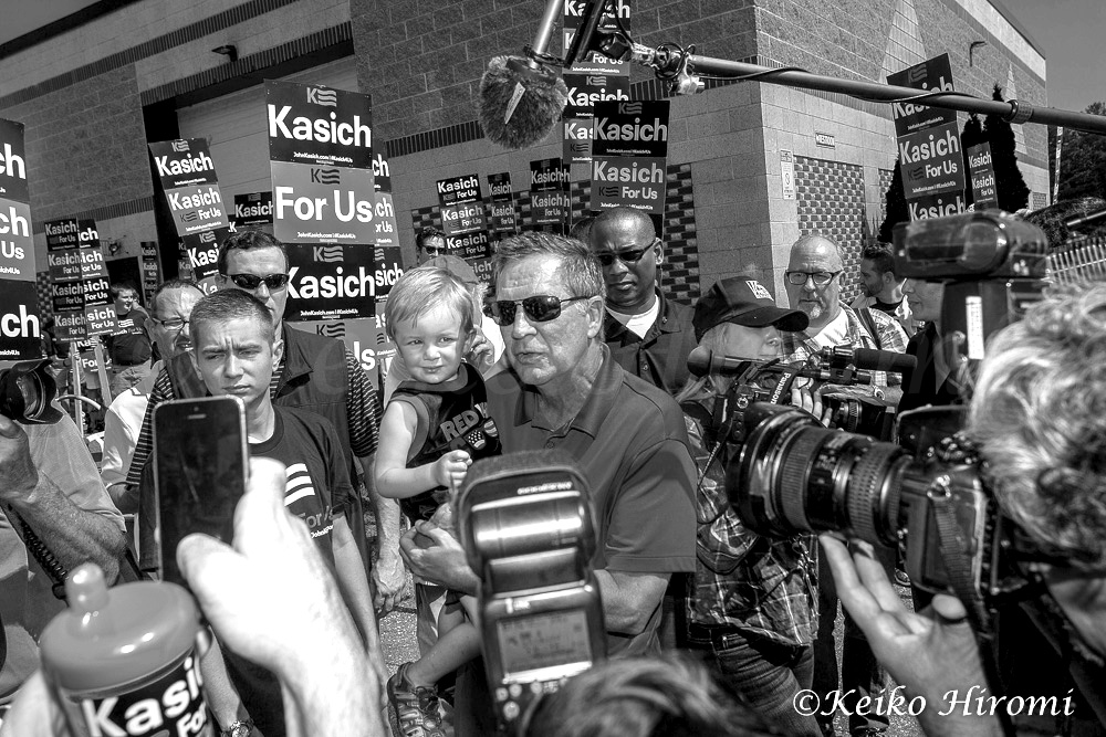 September 7, 2015, Milford, NH, USA: Republican Presidential candidate and Ohio Governor John Kasich campaigning before Labor Day Parade in Milford, NH.