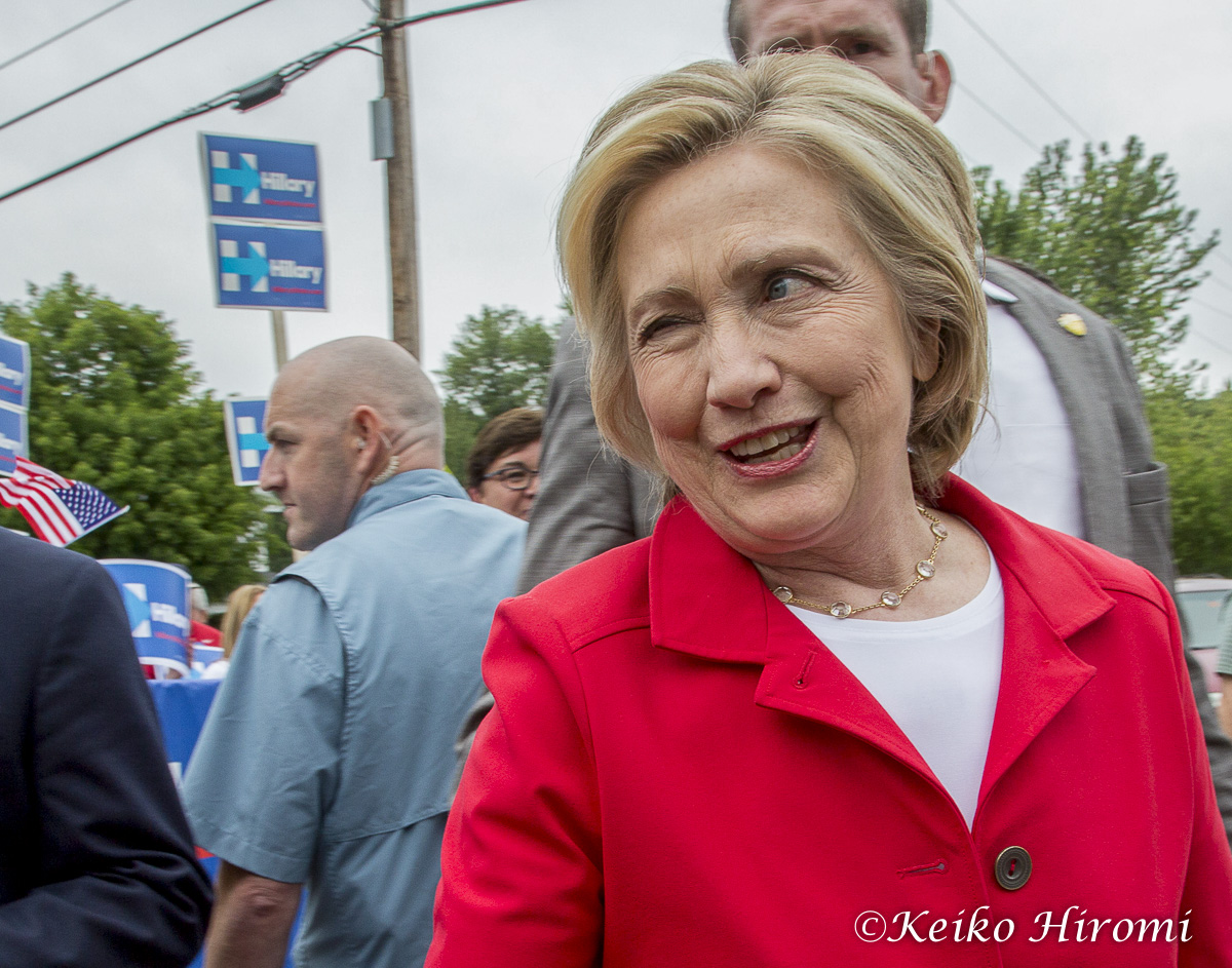 July 4, 2015 Gorham NH USA:  Hillary Clinton, Presidential candidate and former Secretary of State, marching on Gorham July 4th Parade in Gorham, NH, USA.
